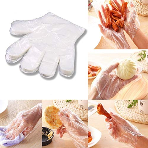 Dye Glove (Rumas 100Pcs Disposable Plastic Gloves for Cooking BBQ Food Handling Non-Sterile Smooth Touch Food Service Grade Home Hotel Utensil)