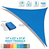 Patio Paradise 17'x22'x27.8' Blue Sun Shade Sail Right Triangle Canopy - Permeable UV Block Fabric Durable Patio Outdoor - Customized Available