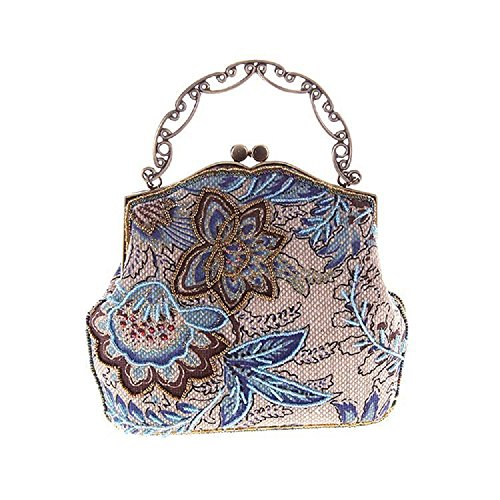 Beaded Purse (Shubb Women's Antique Beaded Party Clutch Vintage Rose Purse Evening Handbag Blue)