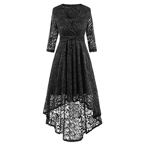 Price comparison product image Women Long Dress Daoroka Women's Sexy V-Neck New Vintage Half Sleeve Formal Patchwork Wedding Dress Cocktail Retro Swing Evening Party Skirt Ladies Casual Fashion Gift Fit Mid-Calf Dress (2XL,  Black)