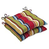 Pillow Perfect Outdoor Westport Garden Wrought Iron Seat Cushion, Multicolored, Set of 2