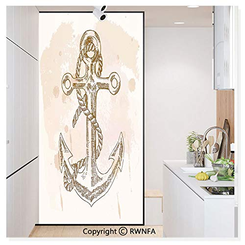 """Decorative Window Films Kitchen Glass Sticker Illustration of Anchor and Rope on Stained Background Navy Summer Holiday Freedom Print Waterproof Anti-UV for Home and Office 11.8"""" x 59.8"""",Cream Brown"""