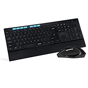 EagleTec KM130 2.4GHz Wireless Combo Multimedia Full Size Keyboard With Numeric Keypad And Mouse