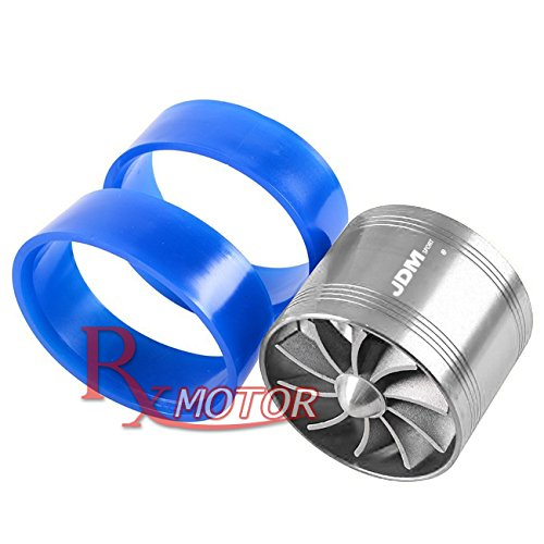 (Rxmotor Universal Car Fuel Gas Saver Supercharger Turbo Charger Air Intake Fan (CHROME))