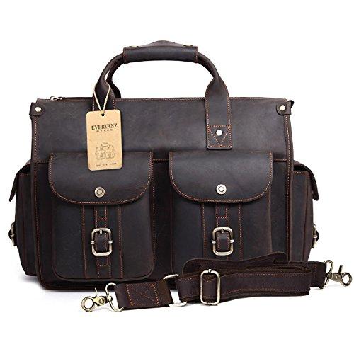 Genuine Bag Flap Shoulder Leather Black - EverVanz Tote Handmade Vintage Leather Briefcase Without Flap for 15 Inch Laptop Bag Shoulder Messenger Bag