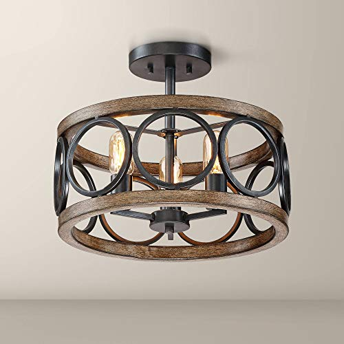Salima Rustic Farmhouse Ceiling Light Semi Flush Mount Fixture LED Black Circle Wood Grain 16