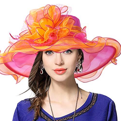 - JESSE · RENA Women's Church Derby Dress Fascinator Bridal Cap British Tea Party Wedding Hat (Two-Tone-Rose)