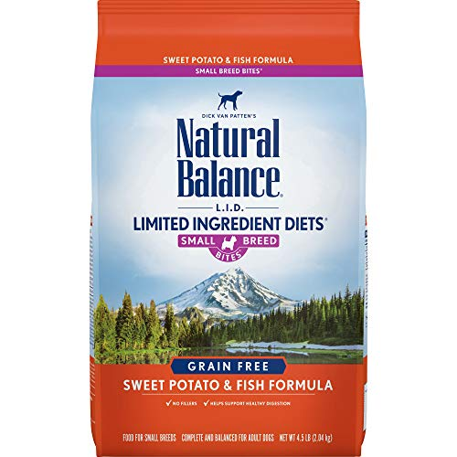 (Natural Balance Small Breed Bites L.I.D. Limited Ingredient Diets Dry Dog Food, Grain Free, Sweet Potato & Fish Formula, 4.5-Pound)