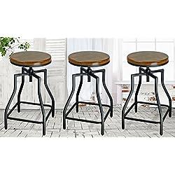 eHemco 24-29'' Adjustable Swivel Metal Barstool with Wood Veneer Seat (3)