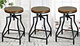 24 Swivel Bar Stools eHemco 24-29'' Adjustable Swivel Metal Barstool with Wood Veneer Seat (3)
