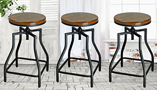 25' Square Stool - eHemco 24-29'' Adjustable Swivel Metal Barstool with Wood Veneer Seat (3)