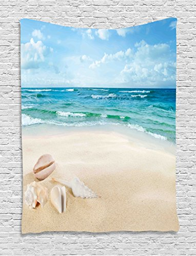 Ocean Decor Tapestry by Ambesonne, Beach Sand Waves Sealife Marine Decor with Shels Hot Summer Sun Print, Wall Hanging for Bedroom Living Room Dorm, 60WX80L Inches, Teal Blue - Sea Shel