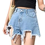 Harmily Women Tassel Ripped High Waist Shorts Button Pockets Cotton Loose Short Jeans