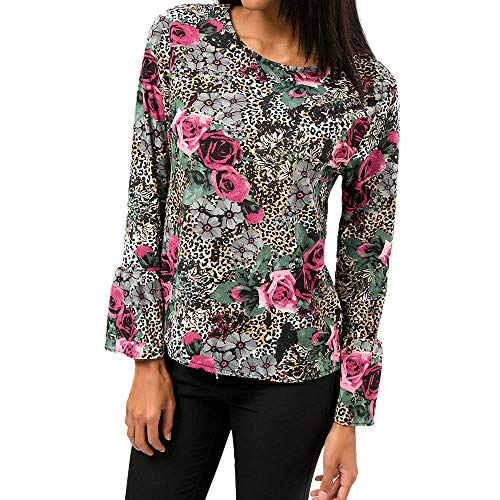 Liraly Womens Tops Long Sleeve New Fashion Women Casual Chiffon Floral Print O-Neck Flare Sleeve Top T-Shirt Blouse(US-12 /CN-L2,Gray)