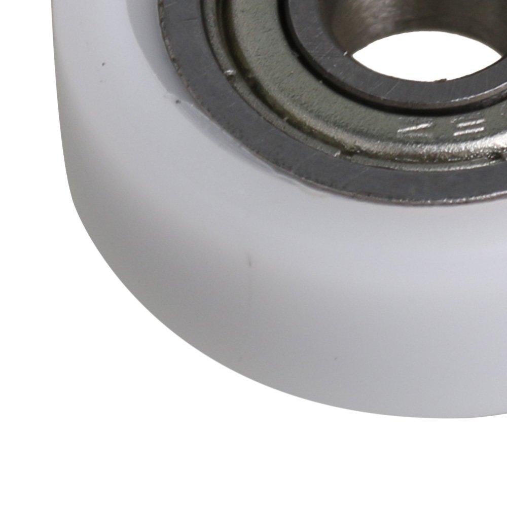 BQLZR 5x19x7mm Reemplazo de Hardware Blanco Recubierto de Nylon Polea Ruedas Rodamiento de Rodillos para Ventana de la Ventana de Diapositivas Paquete de 4: ...
