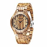 TOPSUN Men's Wooden Watch, Analog Quartz Lightweight Handmade Zebra Wood Wrist Watches with Adjust Tool