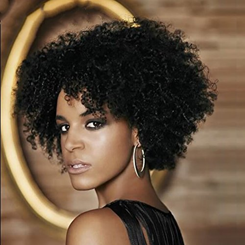 Search : DIFEI HAIR Short Black Kinky Curly Wigs for Women Natural Black Afro Wig African American Short Wigs