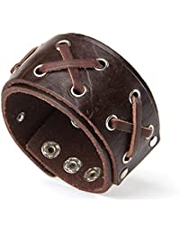 "<span class=""a-offscreen"">[Sponsored]</span>Punk Chic Jewelry Wide Brown Leather Lace Bracelet"