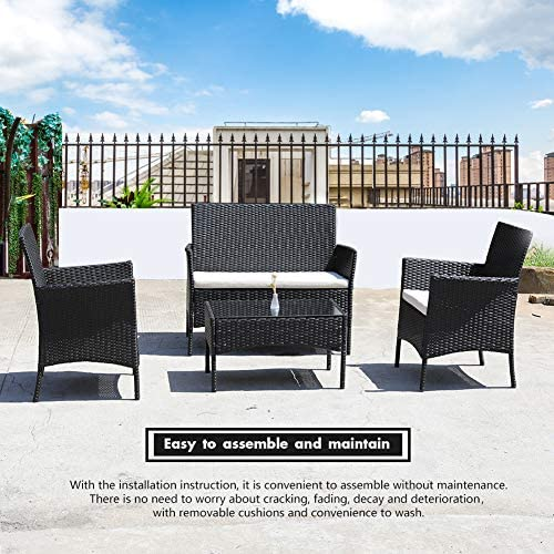 DIMAR garden 4 Piece Outdoor Rattan Patio Furniture Sectional Chair Wicker Patio Furniture Conversation Set Lawn Garden Pool Courtyard Coffee Table Backyard Weather Outdoor Patio Chair Black