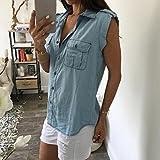 Turndown Denim Shirt,Hemlock Women Junior Tank Tops Blouse Vest (M, Blue)