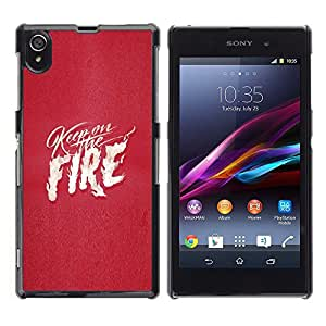 LECELL--Funda protectora / Cubierta / Piel For Sony Xperia Z1 L39 C6902 C6903 C6906 C6916 C6943 -- Pink Fire Text White Flames Love Heart --