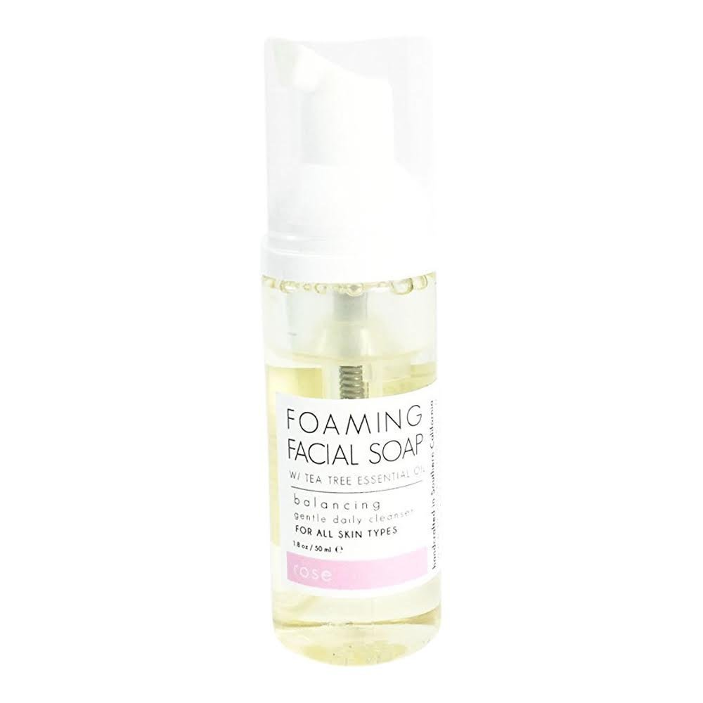 Natural Gentle Rose Foaming Acne & Sensitive Facial Cleanser - Organic Tea Tree, Adult Men + Women with Dry & Oily Skin. Anti Aging, Pore Cleansing - By Honey Belle