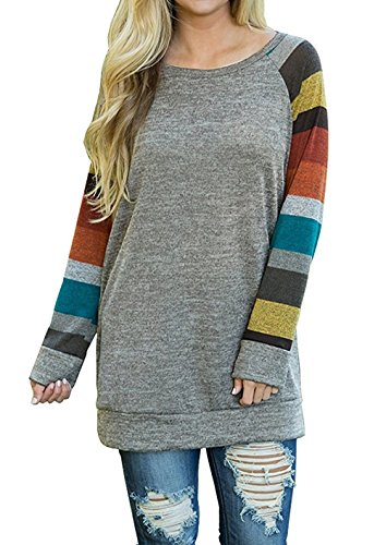 Hiistandd Women Tops Striped Sleeve Pullover Casual Round Neck Blouse ()