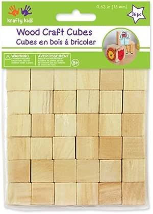 "Craftwood 5/8"" Wooden Cubes 36/Pkg-Natural"