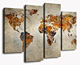 YYL ART -(A Variety Of Colors And Types Map Large Vintage Old Gray Background with Orange Abstract World Map Canvas Wall Art Framed Poster Painting World Shipping Map For Living Room Decor