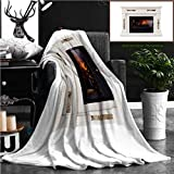 """Nalagoo Unique Custom Flannel Blankets White Luxury Artificial Electronic Fireplace With Firewoods Isolated On White Super Soft Blanketry for Bed Couch, Twin Size 70"""" x 60"""""""