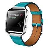 OVERMAL Luxury Genuine Leather Watch band Wrist strap For Fitbit Blaze Smart Watch (Blue)