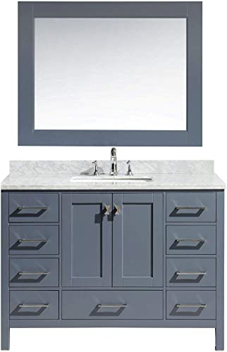 Luca Kitchen Bath LC48AGW Reno 48 Single Sink Vanity Set Finish with Carrara Top and Mirror, Gray w Marble