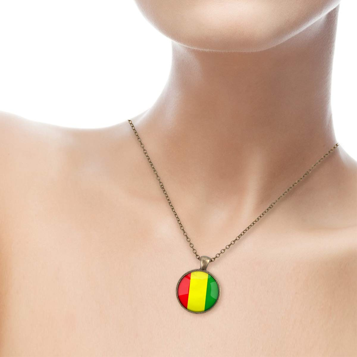 Lightrain The Republic of Guinea National Flag Pendant Necklace Vintage Bronze Chain Statement Necklace Handmade Jewelry Gifts