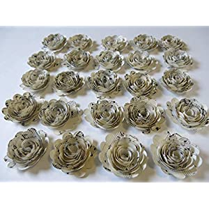 "Scalloped Sheet Music Roses, Set of 24, Musical Party Theme Decorations, 1.5"" Paper Flowers, Popular Baby Shower Decor Wedding Centerpiece, Teacher Gift Idea 35"