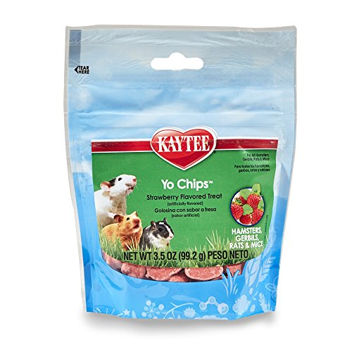 Chinchilla Rat - Kaytee Fiesta Strawberry Flavor Yogurt Chips for Small Animals, 3.5-oz bag
