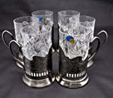 Combination 6 Russian CUT Crystal Drinking Tea Glasses W/metal Glass Holders ''Podstakannik'' for Hot or Cold Liquids