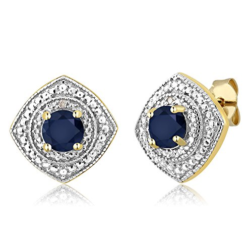 Si1 Si2 Natural - Gem Stone King 1.20 Ct Round Sapphire with Diamond Accent 18K Yellow Gold Plated Silver Studs