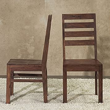 Domusindo Solid Wood Ladder Back Dining Chair (Set Of 2)