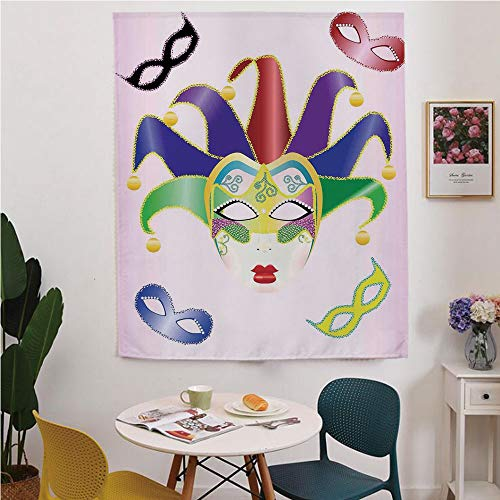 Masquerade Blackout Window curtain,Free Punching Magic Stickers Curtain,Abstract Style Illustration of Christmas Carnival Masks Jester Design Print,for Living Room,study, kitchen, dormitory, ()