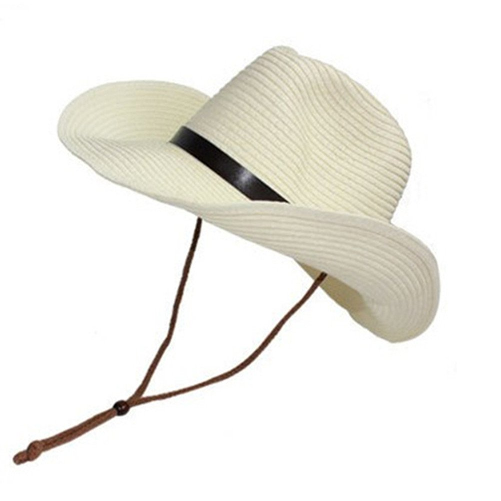 42bd68dc0b1db LUOEM Cowboy Sun Hat Wide Brim Hat Summer Beach Straw Cap Foldable Caps ( Cream color) at Amazon Men s Clothing store
