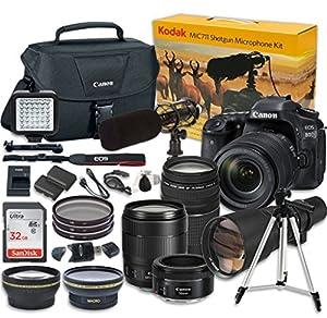 Canon EOS 80D Digital SLR Camera + EF-S 18-135mm f/3.5-5.6 IS USM Lens w/ NANO Autofocus System & EF 75-300mm f/4-5.6 III Telephoto Zoom + EF 50mm f/1.8 STM + 500mm Preset + Kodak MIC-711 Microphone