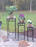 4D Concepts 3-Piece Slate Square Plant Stands with Slate Tops, Metal/Slate