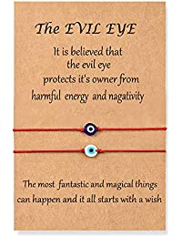 Handmade Evil Eye Bracelets Set with Card Red String Bracelet Kabbalah Protection Luck Amulet for Women Men Family Friends