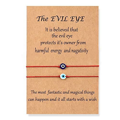 Shonyin Evil Eye Bracelets Red String Kabbalah Protection Lucky Ojo Turco Mal De Bracelet Nazar Amulet Jewelry for Women Men Family Friend Adult kids 2pcs