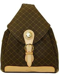 Rioni Signature Brown Zipper Strap Backpack ST20082