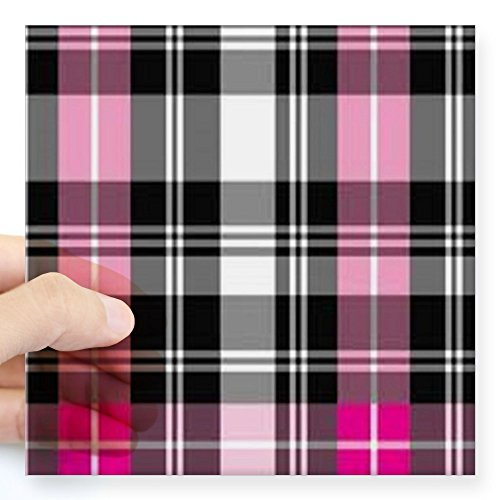 "CafePress - pink & black plaid Square Sticker 3"" x 3"" - Square Bumper Sticker Car Decal, 3""x3"" (Small) or 5""x5"" (Large)"