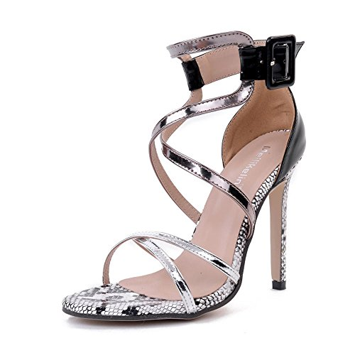 High Heel Block Shoes Sexy (Tanpell Women's Open Toe Cross Strap Evening High Heels Casual Pumps Sandals Silver 5.5)