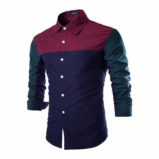 cheap for discount e0103 65cd7 la Moda del Mosaico Multicolore Uomini Camicia Manica Lunga ...