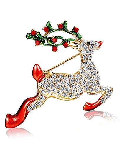 Holiday Pin Christmas (Thunaraz Rhinestone Crystal Brooch Pin for Women CZ Holiday Christmas Brooch Gift Reindeer Brooch)