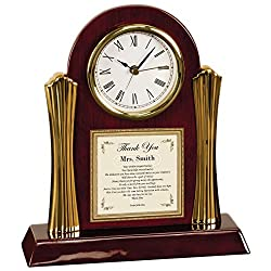 Personalized Teacher Educator Poetry Cherry with Gold Accents Desk Clock Professor Coach Mentor Thank You Gift Clock Present